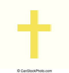 Golden cross in flat style. Symbol of Roman catholic church....