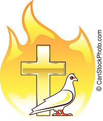Golden cross on fire with dove near