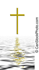 Golden cross over waves, reflection.Vicissutes of life, calming the waters etc. Christian metaphor, Easter etc.