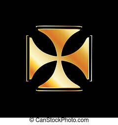 Golden cross pattee symbol on black- symbol of Christianity