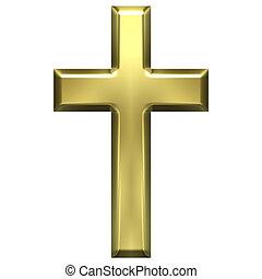 Golden Cross - 3d golden cross isolated in white