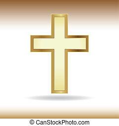 Golden cross. Symbol of the Christian faith.