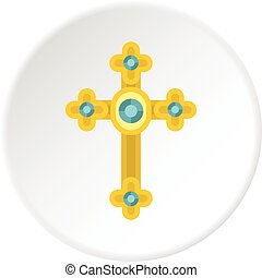 Golden cross with diamonds icon circle