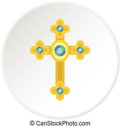 Golden cross with diamonds icon circle