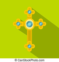 Golden cross with diamonds icon, flat style