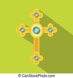 Golden cross with diamonds icon, flat style
