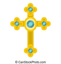 Golden cross with diamonds icon isolated