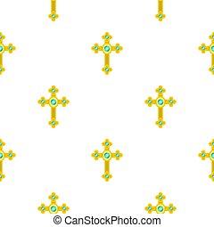 Golden cross with diamonds pattern seamless