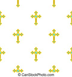Golden cross with diamonds pattern seamless