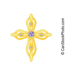 Golden Cross with Diamonds. Vector Illustration.