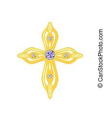 Golden Cross with Diamonds. Vector Illustration.