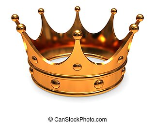 Golden crown, close-up on a white background.