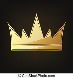 Golden crown icon. Vector illustration. Golden crown symbol,...