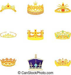 Golden crown icons set, cartoon style
