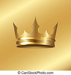 Golden Crown Isolated Golden Background