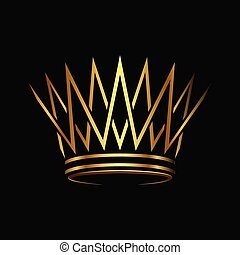 Golden crown Logo abstract design vector. - Crown Logo...
