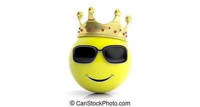 Golden crown on a yellow emoji - white background. 3d illustration