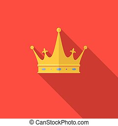 Golden crown on red background with long shadow.