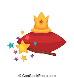 Golden crown on red cushion and magic wand