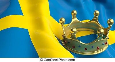 Golden crown on Sweden flag.3d illustration