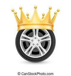 Golden crown on wheel