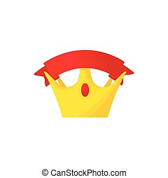 Golden crown with red riibbon icon, cartoon style
