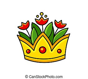 Golden crown with red tulips. Vase. Cartoon vector illustration