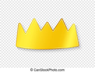 Golden crown with shadow on a transparent background. Vector illustration.