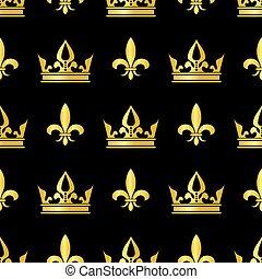 Golden crowns and fleur de lis vector seamless pattern