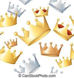 Golden Crowns Background Pattern. Vector