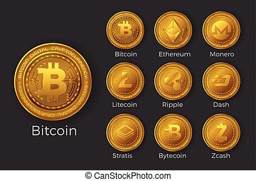 Golden cryptocurrency coin icon sets