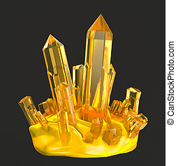 Golden crystals . Isolated on white