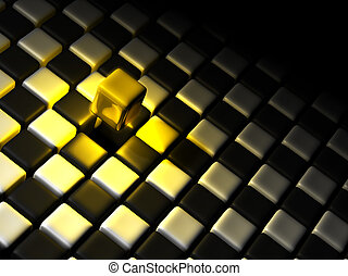 Golden cube alone above many black and white cubes