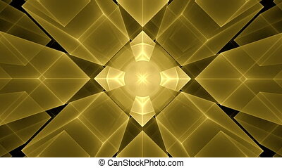 Golden Cubes Rotating in Perspective - Abstract surrealistic...