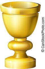 Golden cup grail or goblet - Illustration of a shiny golden...