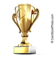 Golden Cup isolated on white background. 3d render image