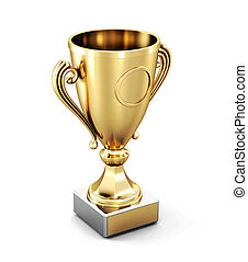 Golden Cup isolated on white background. 3d rendering