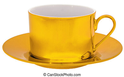 Golden cup isolated on white background