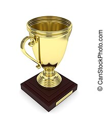 Golden cup on white. 3D rendering.