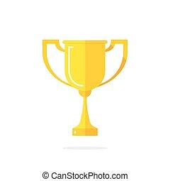 Golden cup vector icon