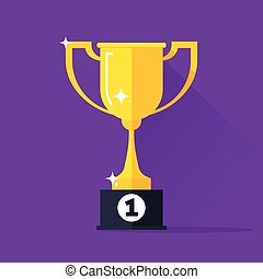 Golden cup vector illustration, gold trophy goblet flat simple icon