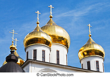 golden cupola of russian church Dormition Cathedral under...