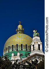 golden cuppola of art deco church in vienna