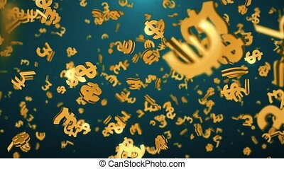 Golden currencies symbols falling down in low depth of field loop Animation.