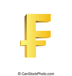 This is a golden currency symbol of franc