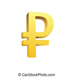 This is a golden currency symbol of rouble