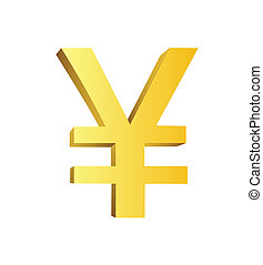 This is a golden currency symbol of yen