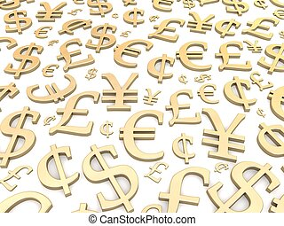 Golden currency symbols background. 3d rendered illustration