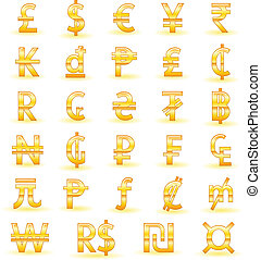 Golden currency symbols - Set of golden currency symbols of...