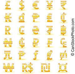 Set of golden currency symbols of the world: Pound, Dollar, Euro, Yen, Rupee, Kip, Dong, Peso, Lira, Cent, Rand, Cruzeiro, Hryvna, Tugrik, Baht, Naira, Guarani, Ruble, Franc, ECU, Yuan, Peseta, Guilder, Colon, Mill, Won, Real, Shekel, Generic Currency Symbol.